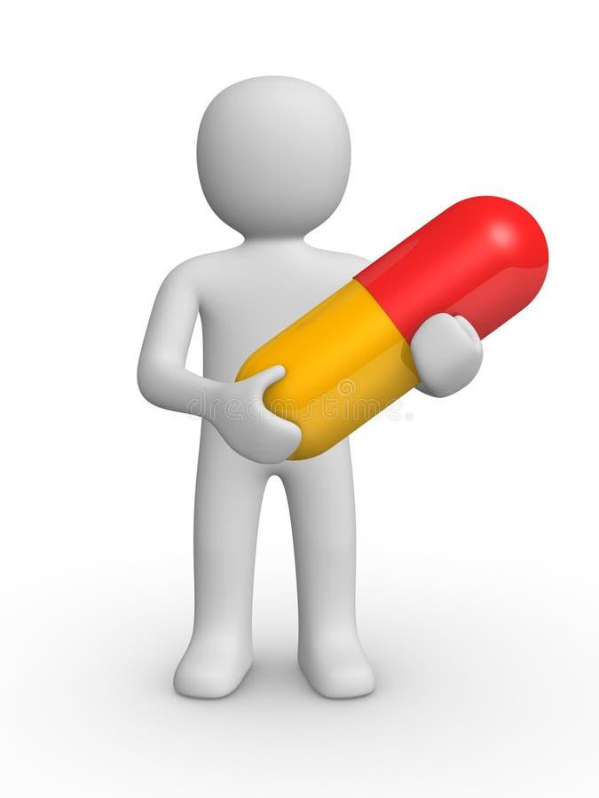 homem 3d com um comprimido ilustração stock