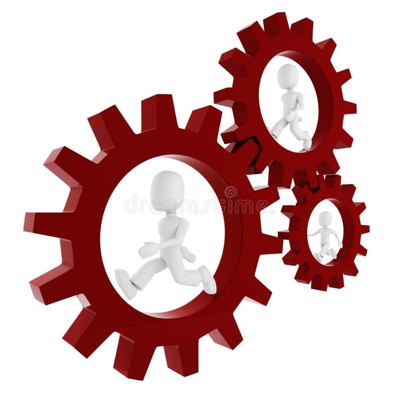 homem 3d dentro de uma roda de engrenagem ilustração do vetor