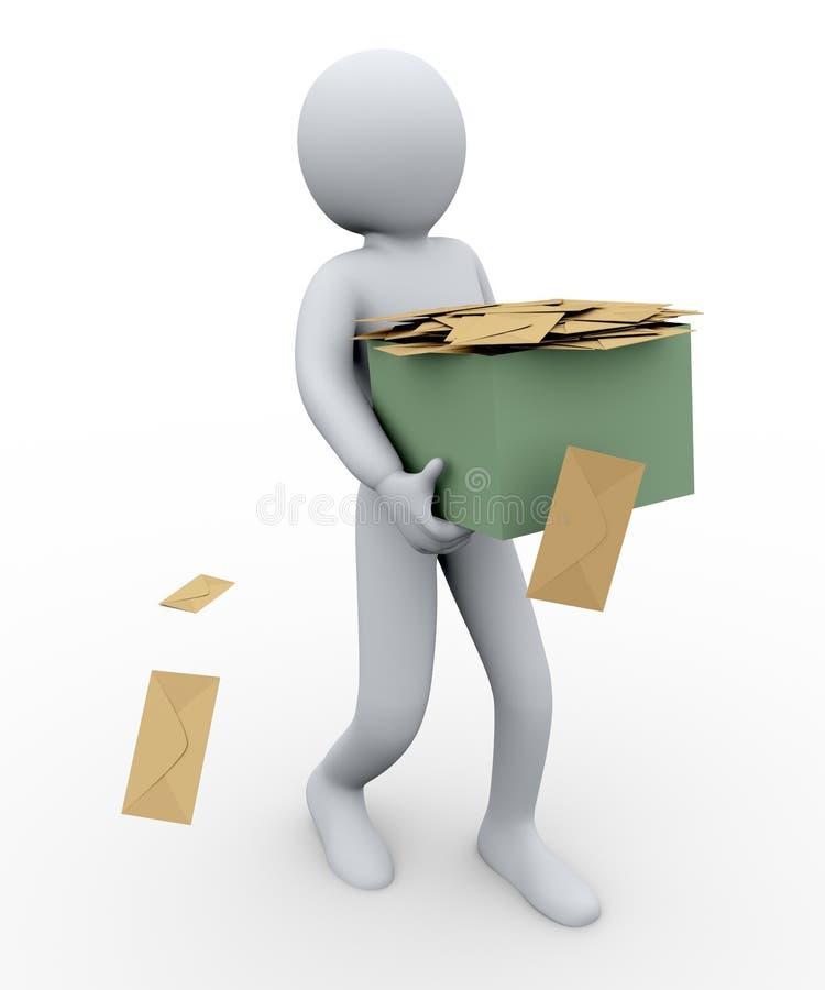 homem 3d e caixa dos envelopes ilustração do vetor