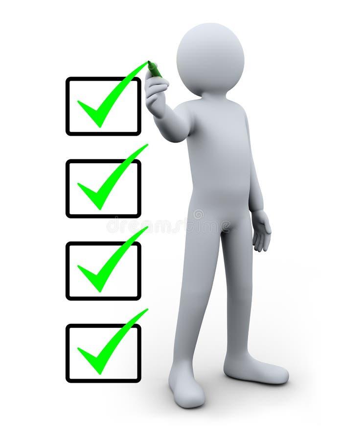 homem 3d e lista de verificação ilustração royalty free
