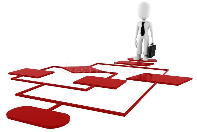 homem 3d em uma carta vermelha do diagrama ilustração do vetor