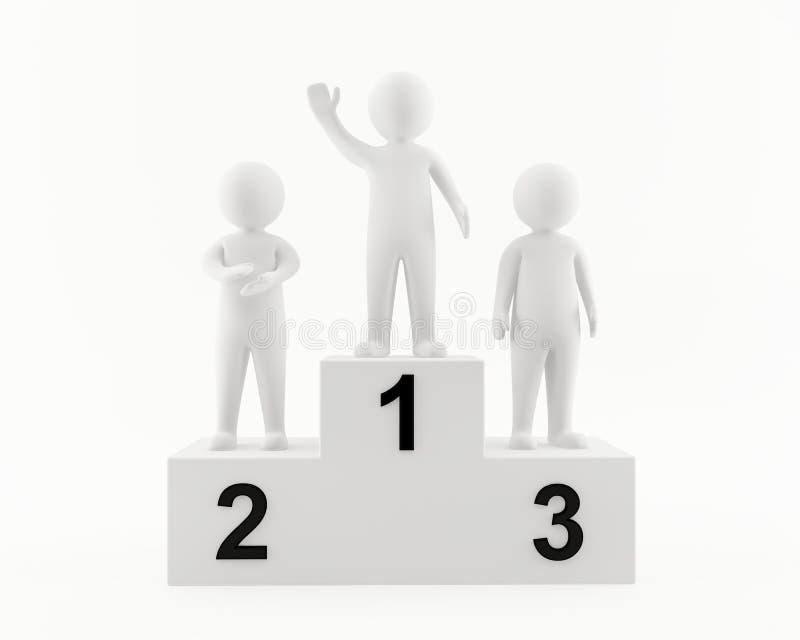 homem 3D no pódio dos vencedores ilustração stock