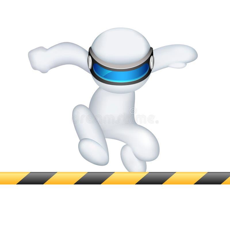 homem 3d no vetor que funciona na raça de obstáculo ilustração stock