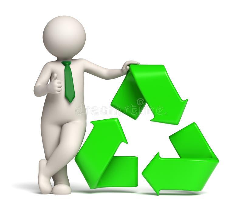 homem 3d - o verde recicl o ícone e os polegares acima ilustração royalty free