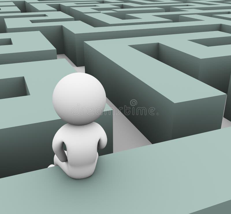 homem 3d perdido no labirinto ilustração do vetor
