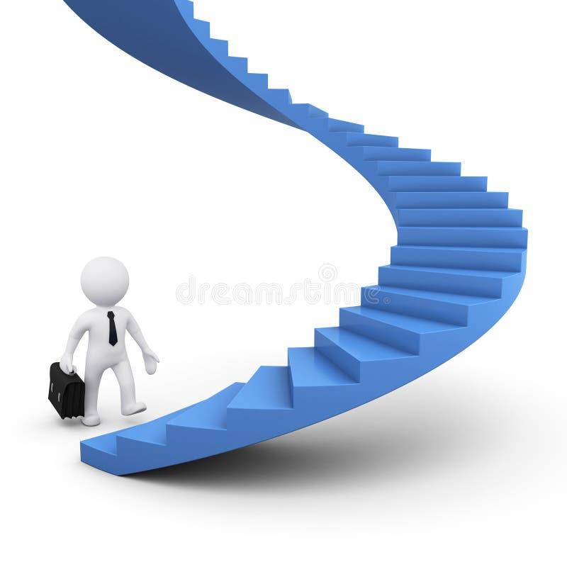 homem 3D pronto para ir acima das escadas ilustração do vetor