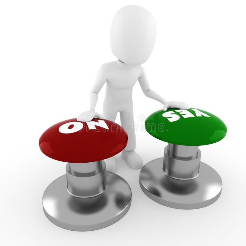 homem 3d que chooseing no meio sim ou No. ilustração do vetor