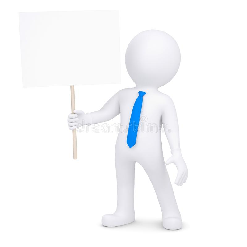 homem 3d que guardara um cartaz ilustração royalty free
