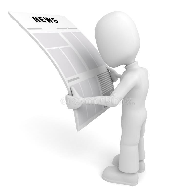homem 3d que lê a notícia ilustração do vetor