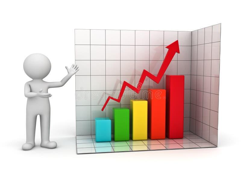 homem 3d que mostra o gráfico de negócio de aumentação ilustração stock