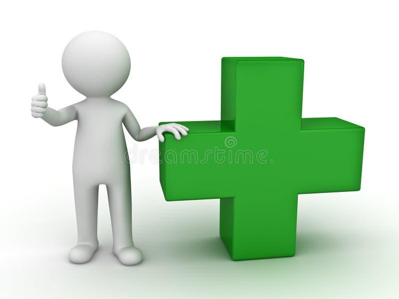 homem 3d que mostra o polegar acima com verde mais o sinal ilustração stock