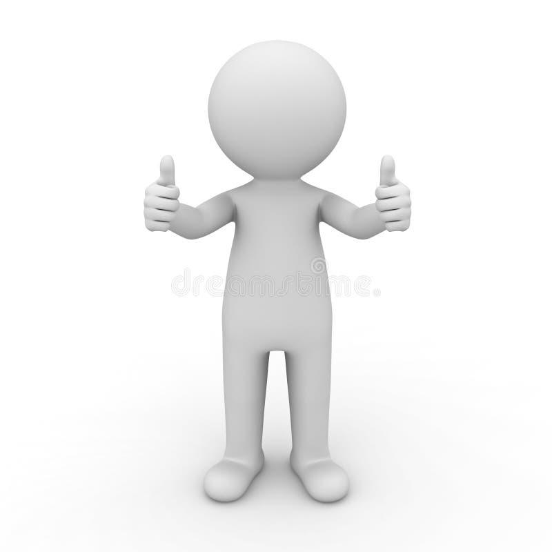 homem 3d que mostra os polegares acima ilustração do vetor