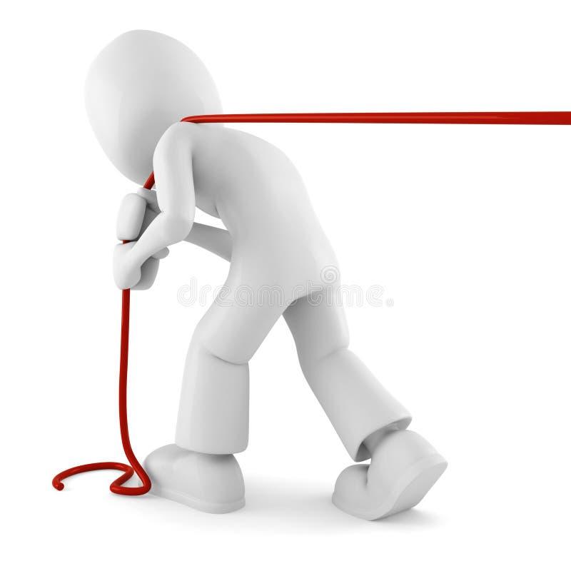 homem 3d que puxa uma corda isolada no branco ilustração do vetor