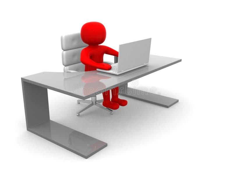 homem 3D que senta-se na tabela e no trabalho ilustração royalty free