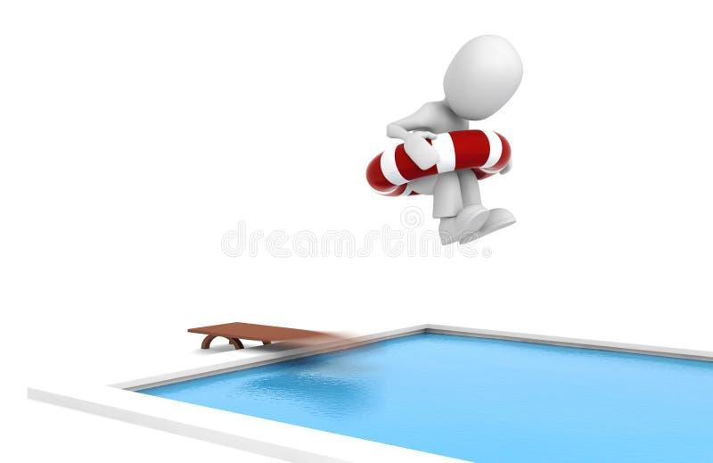 homem 3d, saltando em uma piscina ilustração do vetor