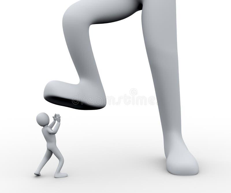 homem 3d sob o pé ilustração do vetor