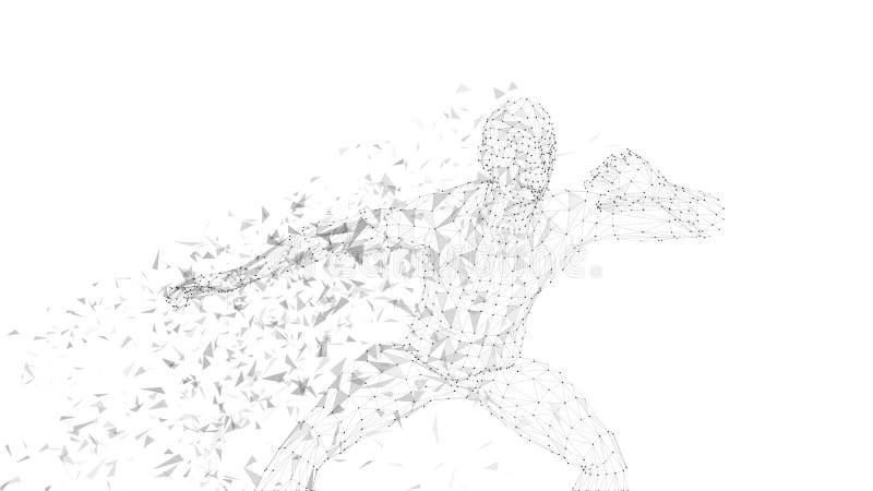 Homem abstrato conceptual que esconde sua cara com mão Linhas conectadas, pontos, triângulos, partículas no fundo branco ilustração royalty free