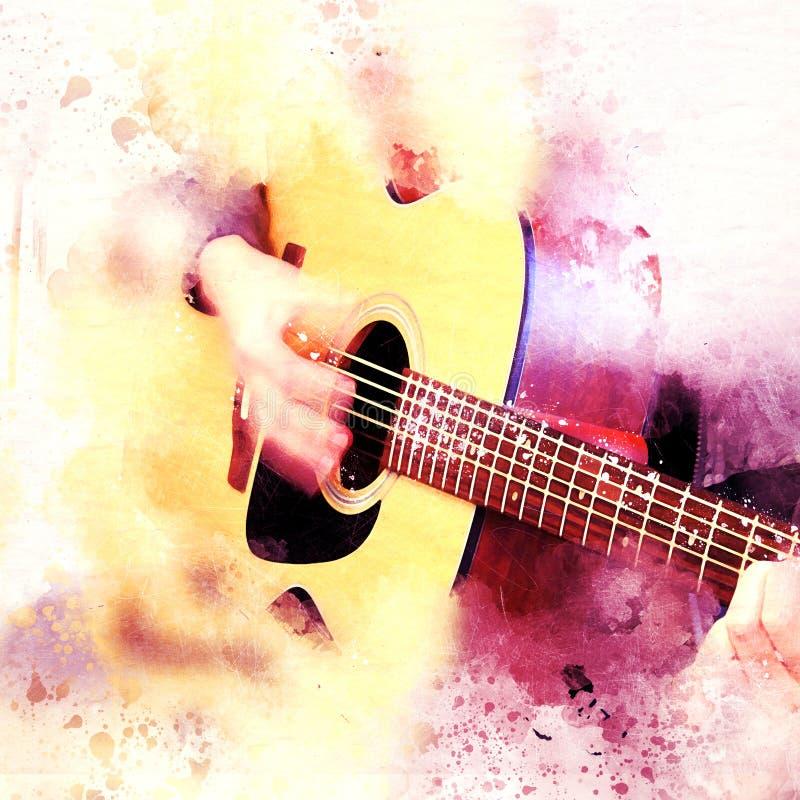 Homem abstrato que joga a guitarra acústica na pintura da aquarela ilustração stock