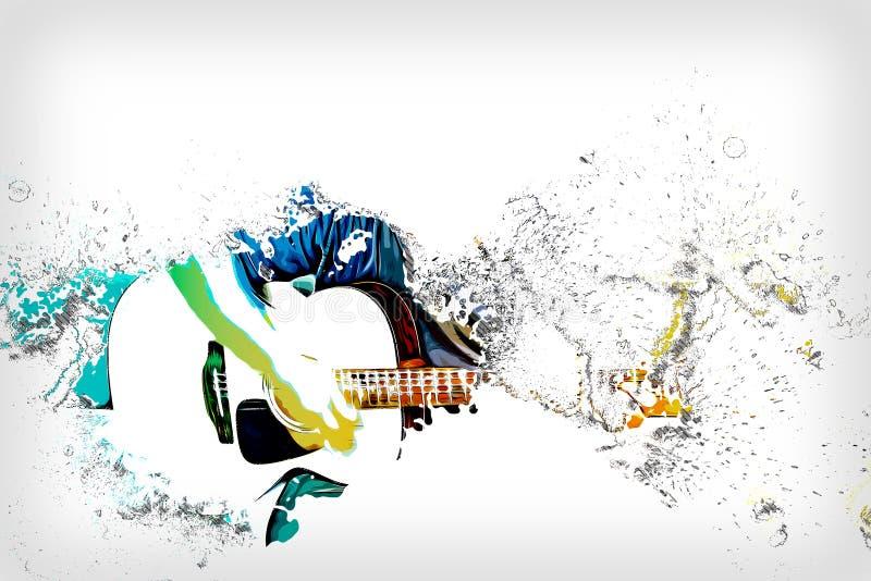 Homem abstrato que joga a guitarra acústica na pintura da aquarela ilustração do vetor