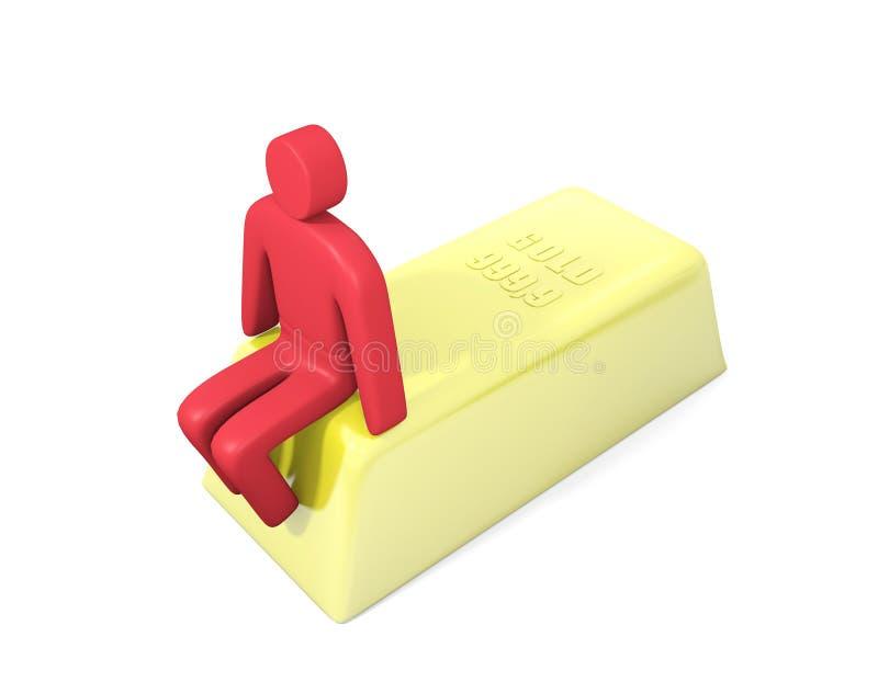 Homem abstrato que senta-se em uma barra de ouro ilustração do vetor