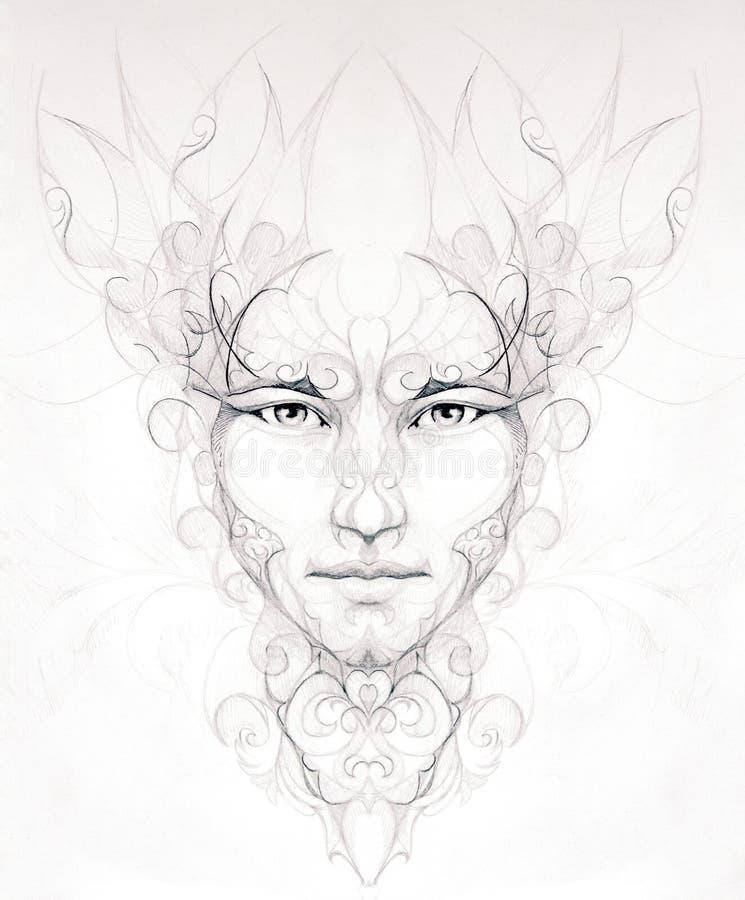 Homem abstrato que tira o retrato decorativo da flor no olho de papel co ilustração stock