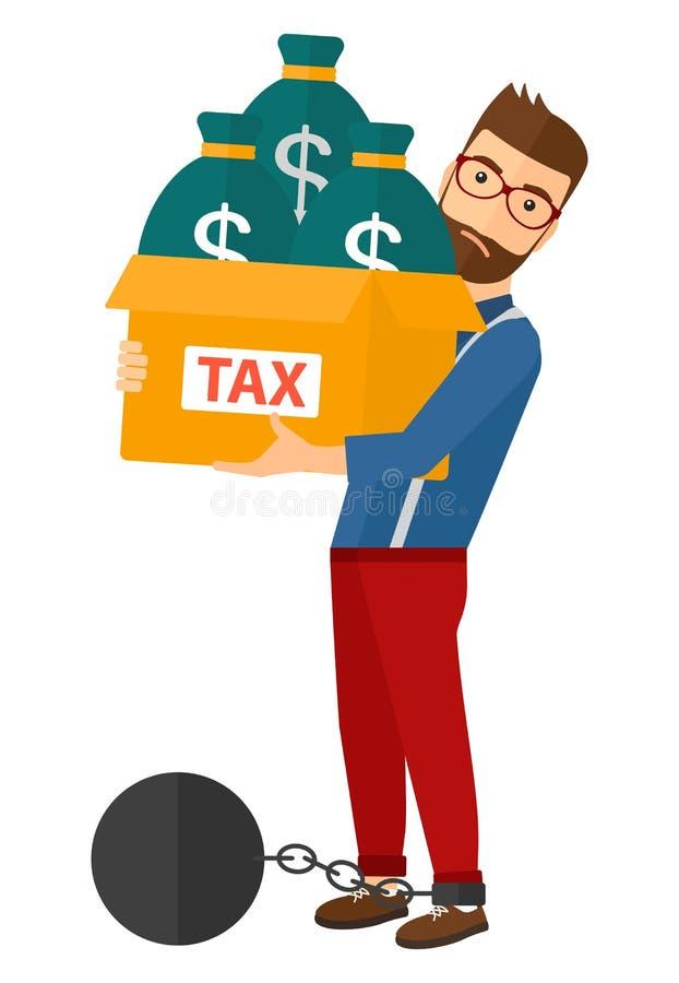 Homem acorrentado com os sacos completos dos impostos ilustração do vetor