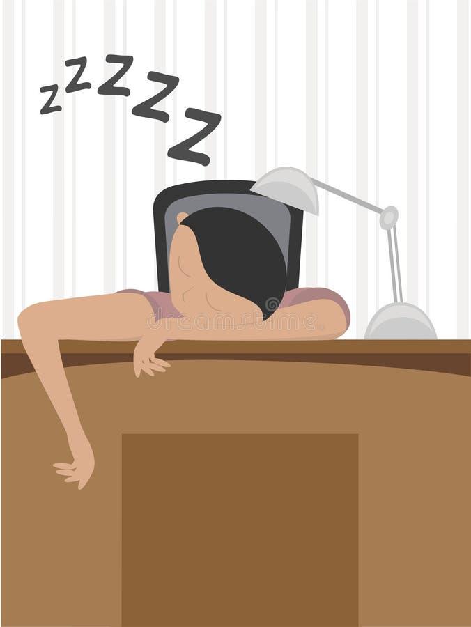 Homem adormecido na mesa ilustração do vetor