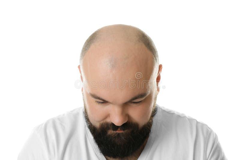 Homem adulto calvo no fundo fotos de stock royalty free