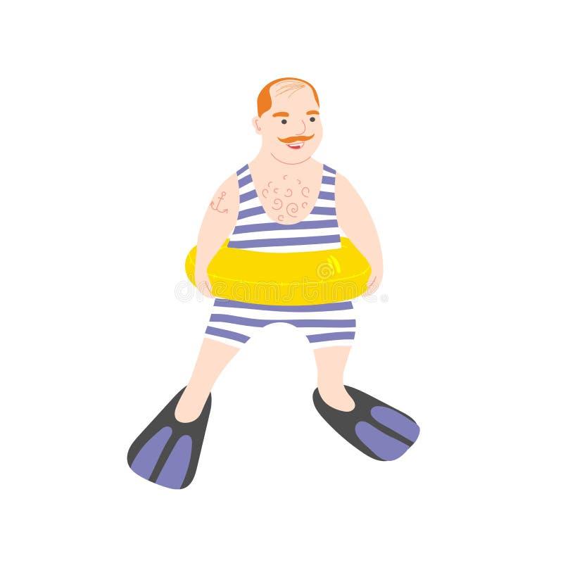 Homem adulto com um anel de borracha e um roupa de banho Natação no círculo e em aletas infláveis Marinheiro gordo calvo ilustração royalty free