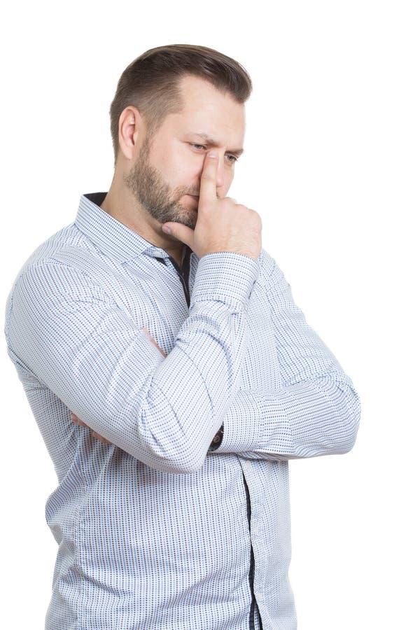 Homem adulto com uma barba Isolado no branco fotografia de stock royalty free
