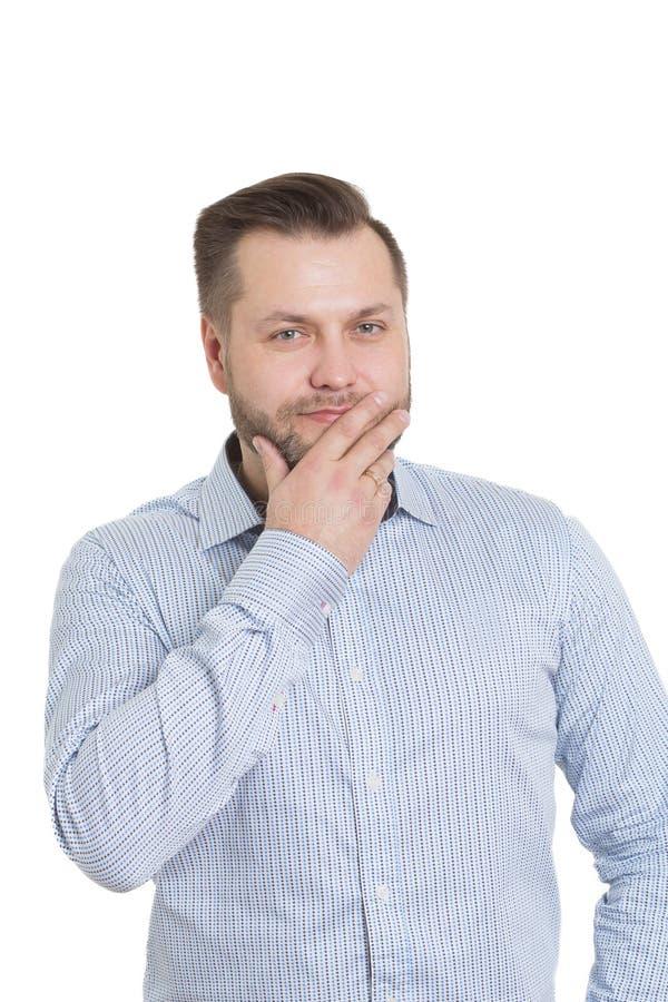 Homem adulto com uma barba Isolado no branco imagens de stock royalty free