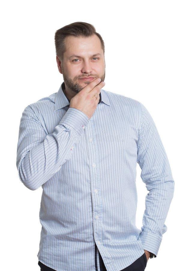 Homem adulto com uma barba Isolado no branco fotos de stock royalty free