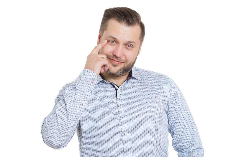Homem adulto com uma barba Isolado no branco fotos de stock