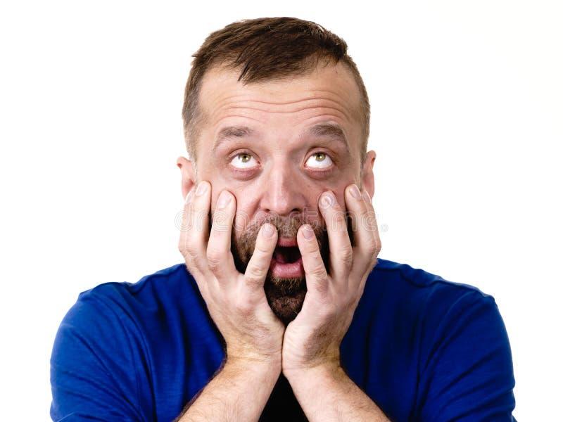 Homem adulto Scared foto de stock royalty free