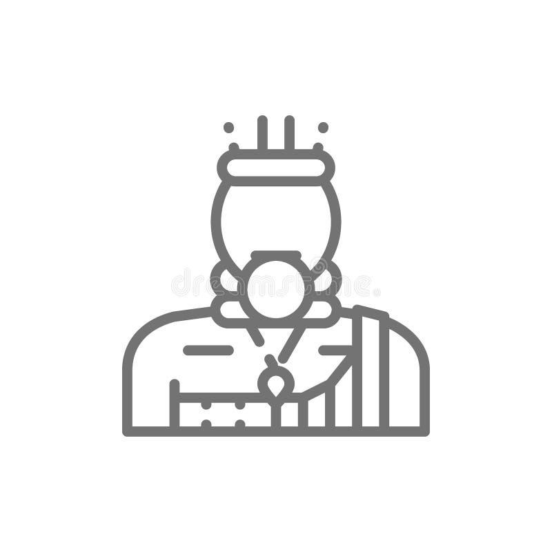 Homem africano, mateiro, linha ícone de Mursi ilustração stock