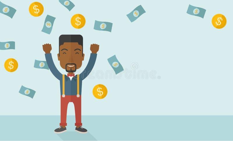 Homem africano novo e alegre ilustração stock