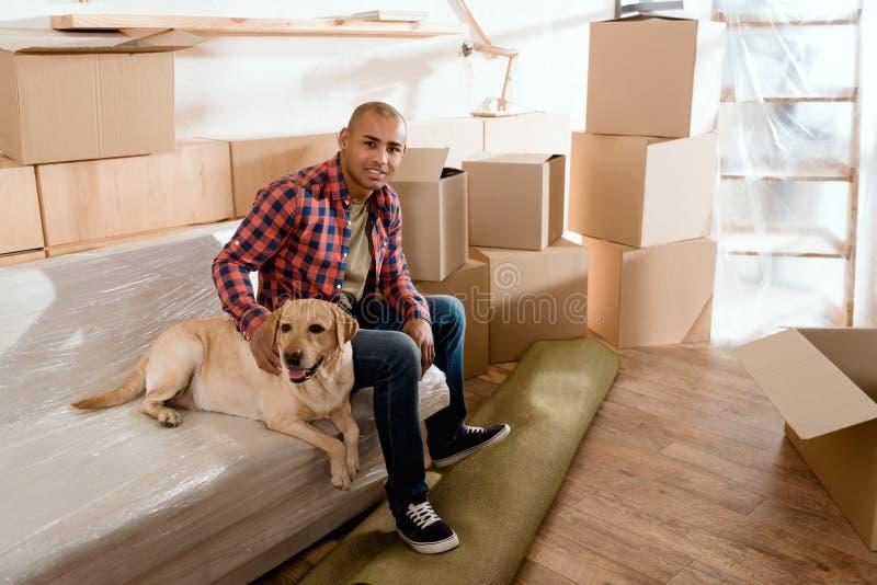 homem afro-americano com o cão de Labrador no apartamento novo imagens de stock royalty free