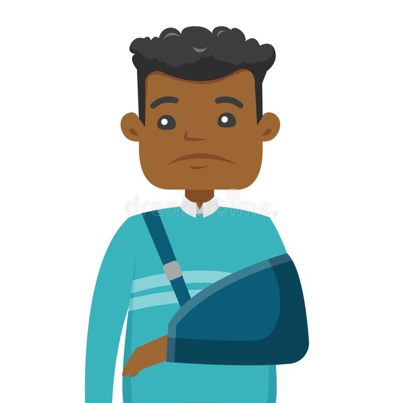Homem afro-americano ferido com braço quebrado ilustração royalty free