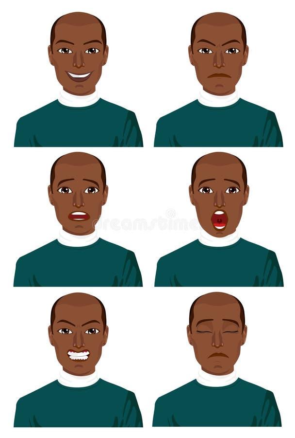 Homem afro-americano novo com seis expressões diferentes ilustração stock