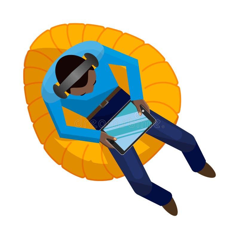Homem afro-americano novo que senta-se nos fones de ouvido e com um tablet pc em uma cadeira do saco de feijão amarelo ilustração do vetor