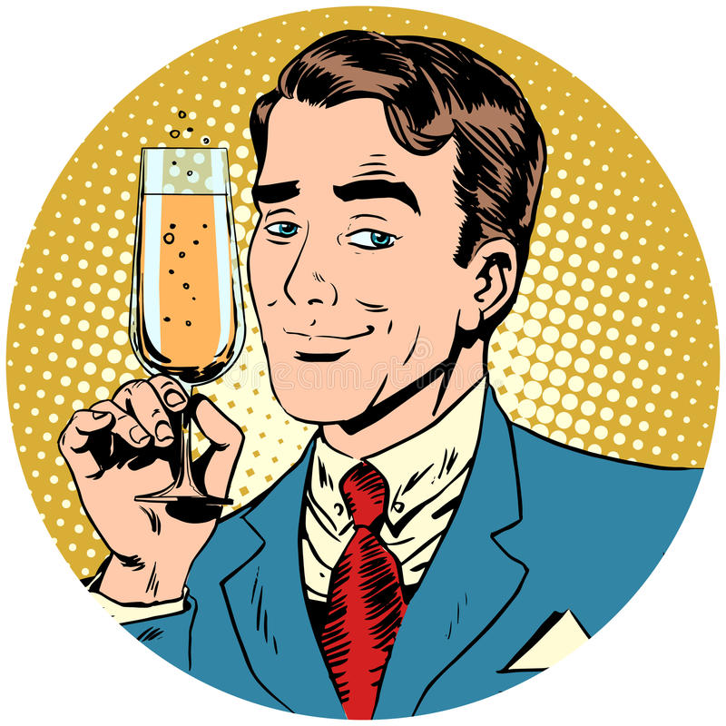 Homem agradável com um vidro do vinho espumante do champanhe ilustração stock