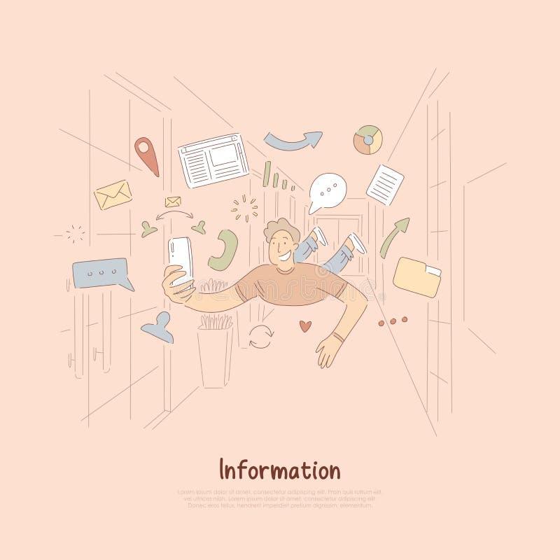 Homem alegre com o smartphone cercado com ícones do Internet, tecnologia de comunicação móvel, bandeira em linha da consultação ilustração stock
