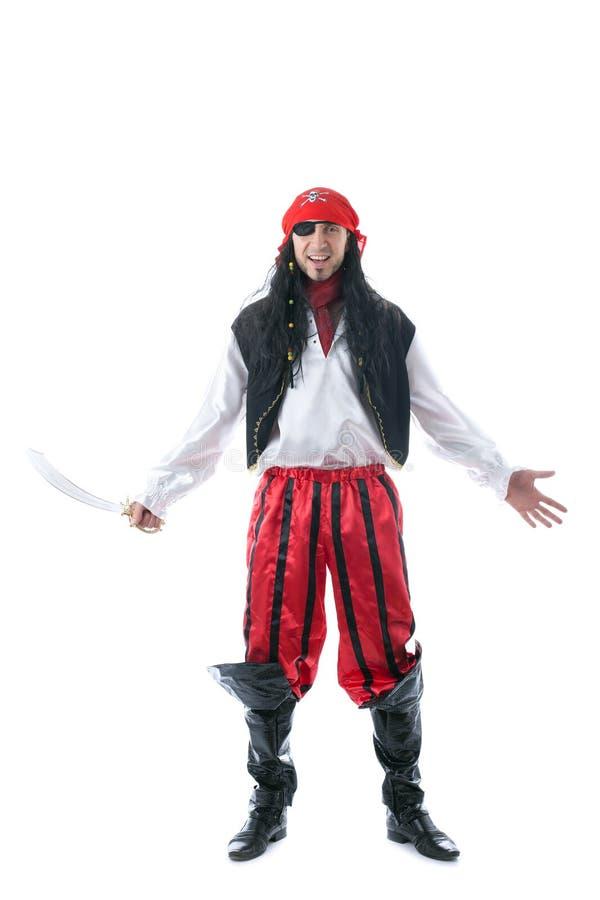 Homem alegre no traje do pirata, isolado no branco imagens de stock