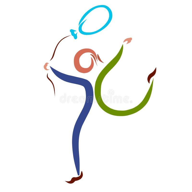 Homem alegre que corre com balão azul ilustração royalty free