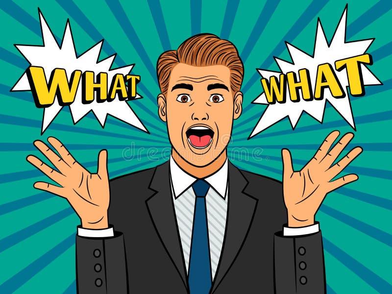 Homem amedrontado pop art ilustração do vetor