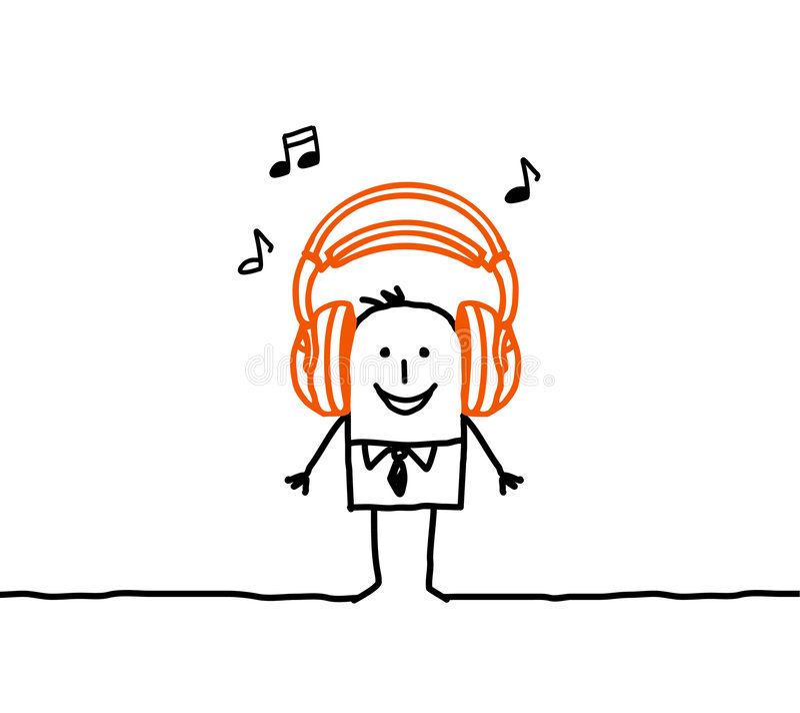 Homem & música ilustração do vetor