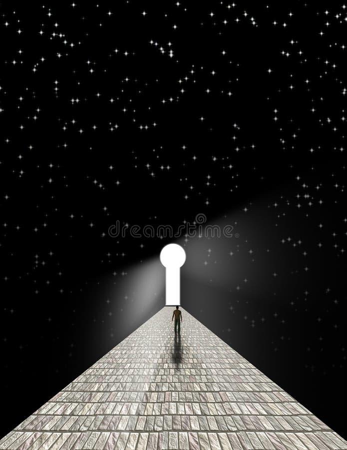 Homem antes do buraco da fechadura ilustração royalty free