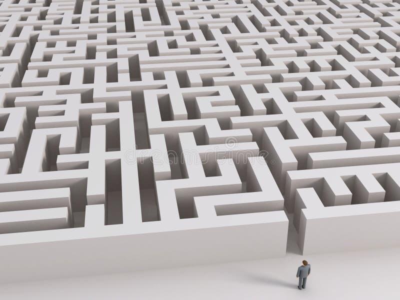 Homem antes do labirinto ilustração royalty free