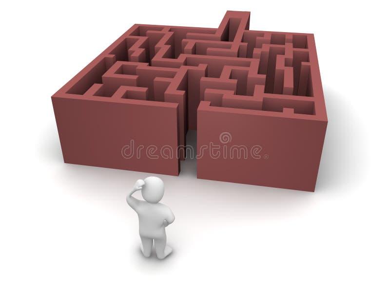 Homem antes do labirinto sem saída ilustração stock