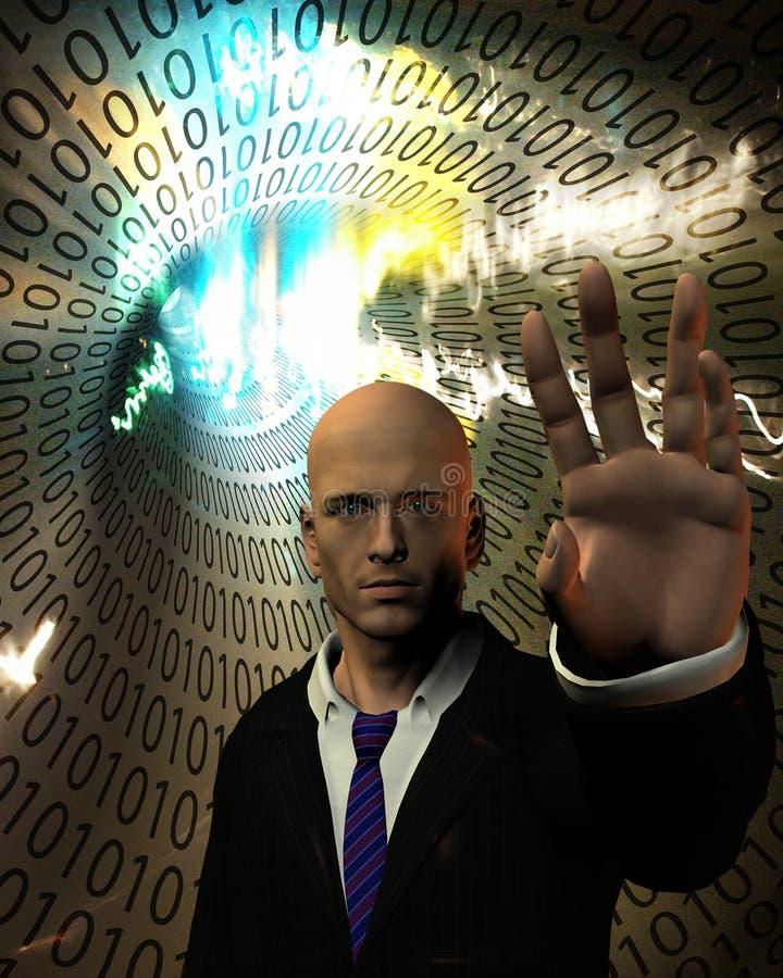 Homem antes do tunel do código binário ilustração royalty free